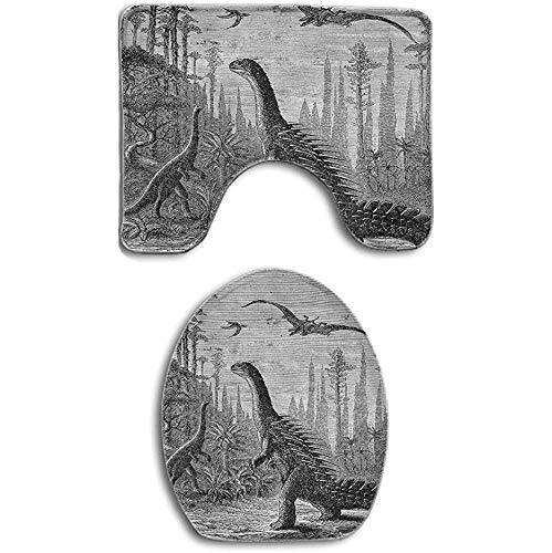 GABRI Dinosaurier Drachen Landschaft Primitive Erde Badteppiche Set Badteppiche 2-teilig Badteppich Fußboden und Toilettendeckel