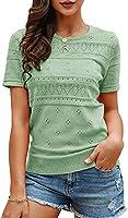 Foshow Womens Puff Short Sleeve Sweaters Tops Summer Soft Crew Neck Dot Pullover Shirt Lightweight Knit Sweater Blouse