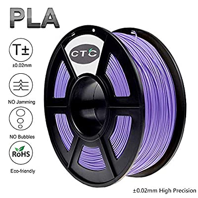 CTC 3D Printer Filament PLA 1.75mm - Purple(Dimensional Accuracy +/- 0.02 mm) Environmentally Friendly PLA 3D Filament for 3D Printer and 3D Pen