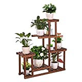 COOGOU Wood Plant Stand Indoor Outdoor Multi Tiered Corner Plant Shelf Holder High Low Flower Rack Stand for Indoor Multiple Plants 9 Potted Organize Shelves in Living Room Garden Balcony Patio Yard