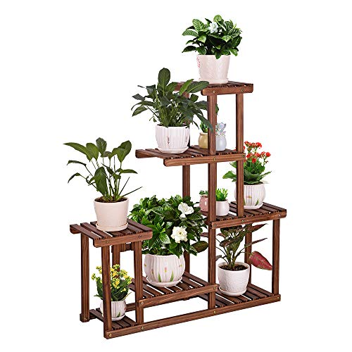 corner shelf unit for flowers COOGOU Wood Plant Stand Indoor Outdoor Multi Tiered Corner Plant Shelf Holder High Low Flower Rack Stand for Indoor Multiple Plants 9 Potted Organize Shelves in Living Room Garden Balcony Patio Yard