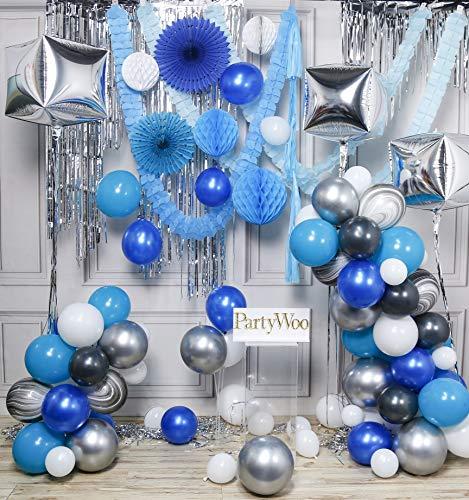 PartyWoo Blauwe En Zilveren Ballonslingerkit, 107 Stuks Cube Ballonnen, Marmeren Ballonnen, Zilveren Franje Gordijn, Blauwe Kwast, Papieren Ventilatoren, Honingraten, Papieren Slingers, Ballonnen