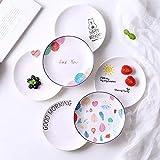 YNHNI Juego de porcelana de cerámica nórdica, diseño geométrico, plato de desayuno, plato de postre, plato de merienda adecuado para la familia de postres, tienda de postres