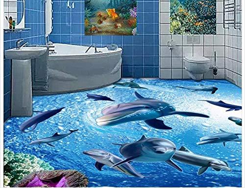 Xcmb 3d tapete PVC wandbilder wohnzimmer Maßgeschneiderte 3D-Fototapete 3D-Boden Malerei Tapete 3 D Badezimmerboden Ist Eine Gruppe Von Delfinen 3 D Wohnzimmer Dekoration-450Cmx300Cm