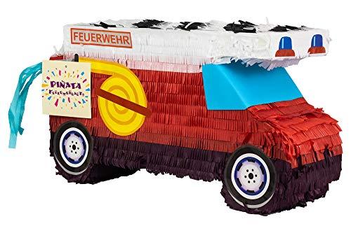 Trendario Pinata Feuerwehr Auto, Ideal zum Befüllen mit Süßigkeiten und Geschenken - Piñata als Kindergeburtstag Spiel für Jungen und Mädchen - Geschenkidee zum Geburtstag, Party, Feuerwehr Deko