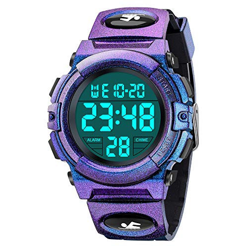 Toys for 5-16 Year Old Boys Kids, SOKY Kids Watches for Boys Ages 5-7 LED Digital Sports Watch Waterproof Wristwatch Cool Thanksgiving Birthday Gifts for Teen Girls 14-16 Xmas Stocking Stuffers Purple