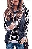 LAMISSCHE Womens Warm Sherpa Fleece Zip Up Reversible Vest Sleeveless Lightweight Jacket Outwear with Pockets(Navy Blue,XL)