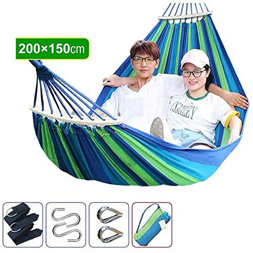 W.KING brede hennepstof dikke hammock draagbare outdoor camping tuin schommel hangstoel dubbele bescherming tegen kantelen (afmetingen: 200 x 150 cm)