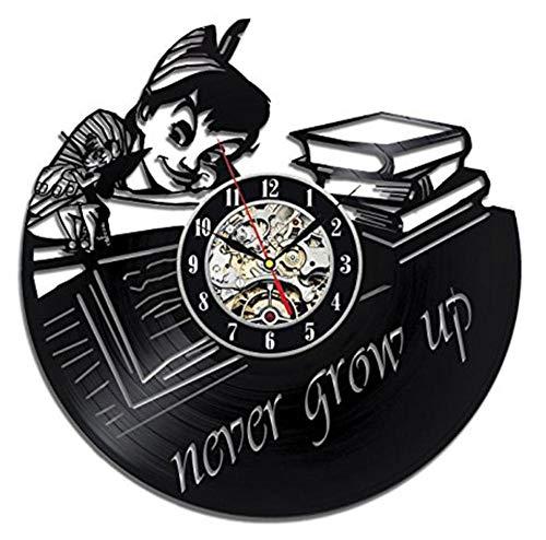 Yang Jingkai Peter Pan Vinyl LP record klok hangen 3D-klok kinderkamer decoratie zwart holle ronde antieke LED-klok No Led