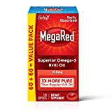 Omega-3 Krill Oil 350mg Softgels, MegaRed (120 count in a bottle), EPA & DHA Omega-3 Fatty Acids With No Fishy Aftertaste Unlike Fish Oil, Contains Antioxidant Astaxanthin