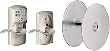 Schlage Camelot Keypad Entry with Flex-Lock and Accent Levers, Satin Nickel & Defender Security 10446 Door Hole Cover Plate,