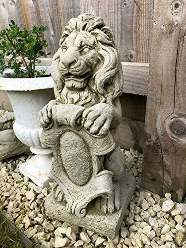 Estatua de León Armorial de Piedra | Decoración de Estilo Vintage Reconstituido Animal Decoración al aire libre Jardín Ornamento