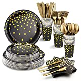 """169PCS Birthday Plates and Napkins Sets for Adult, Black and Gold Party Supplies - Including 54"""" x108""""..."""