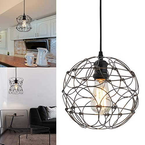 Deformable Pendant Light Fixture, Black Metal Wire Cage...