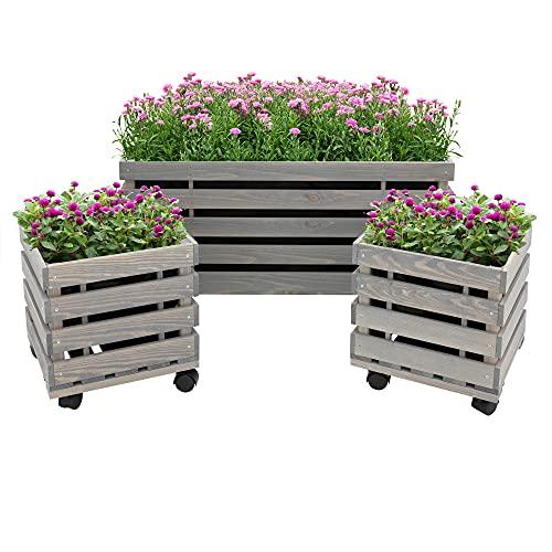 WOMO-DESIGN bloembak set van 3 op 4 wielen, van grenenhout geglazuurd grijs, 1x 40x78x38/ 2x 32x30x27 cm, robuust/weerbestendig, bloempot plantenbak houten bakken, voor tuin/terras/balkon