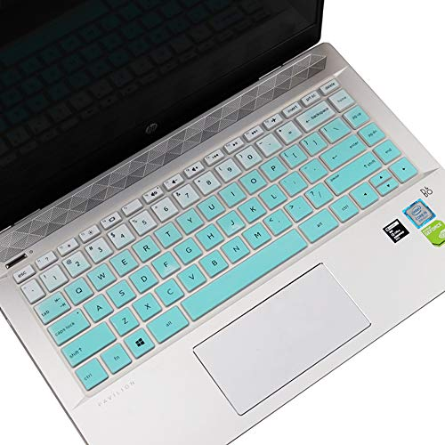 Keyboard Cover for HP Pavilion X360 14 Silicone Keyboard Skin for HP Pavilion x360 14M-BA 14M-CD 14-BF 14-BW 14-cm 14-CF Series 14' Laptop Keyboard Protector, Gradual Mint Green (with Squared Keypad)