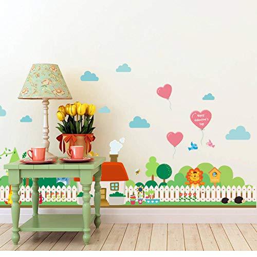 Muurstickers Landelijke Tuin Hek Hoogte Meet Muursticker voor Kinderen Kamers Slaapkamer Tuin Muursticker 3D Dorp Decoratie
