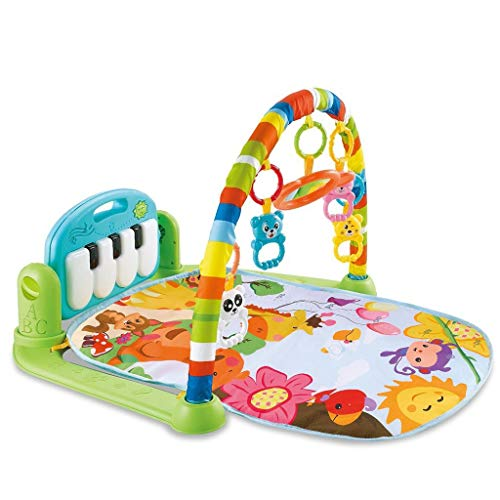 Play Mat Activity Gym for Baby, Baby Game Pad Music Pedal Piano Music Fitness Rack Crawling Mat with Hanging Toys, Lay to Sit-Up Play Mat Activity Center for Infants and Toddlers (As Show)