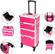 Mefeir 2-in-1 Rolling Makeup Train Case,4 Removable Travel Wheels w/Lockable Keys+Shoulder Strap,Aluminum Cosmetic Trolley Cart Beauty Artist Organizer,Ideal Xmas New Year Gift(Rose-Pink)