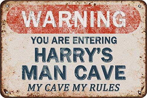 Tarika Warning You are Entering Harry's Man Cave My Cave My Rules Affiche de Fer Vintage Peinture étain Signe pour Rue Garage Maison café Bar Homme Grotte Ferme décoration Murale Artisanat