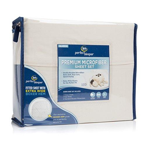 Serta Perfekte Sleeper Premium Mikrofaser Spannbetttuch-Set, Mikrofaser, sand,...