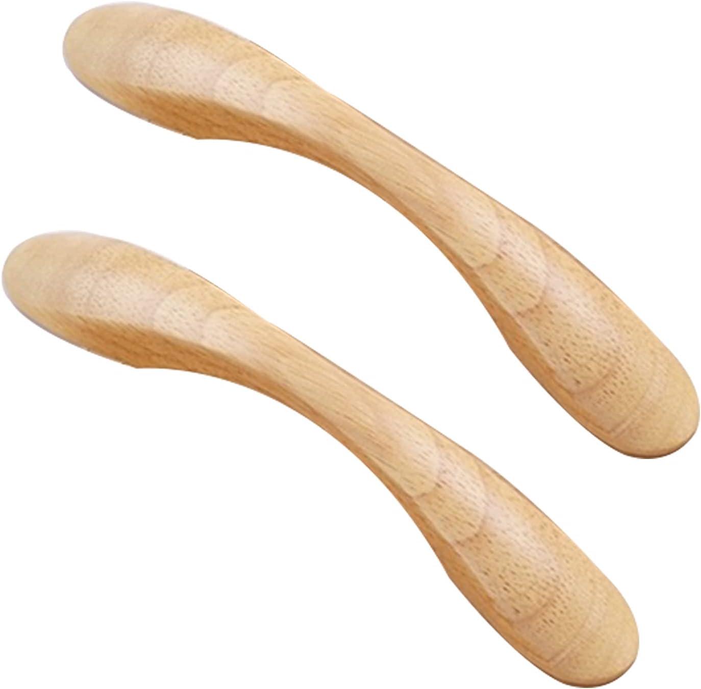 2 Piezas Tiradores de arco de Madera maciza Manijas Madera de caucho Perilla Arco en Forma de Mango Pomos para armario para cajón Asas de gabinete picaportes para Zapatero (Hole distance 128mm)