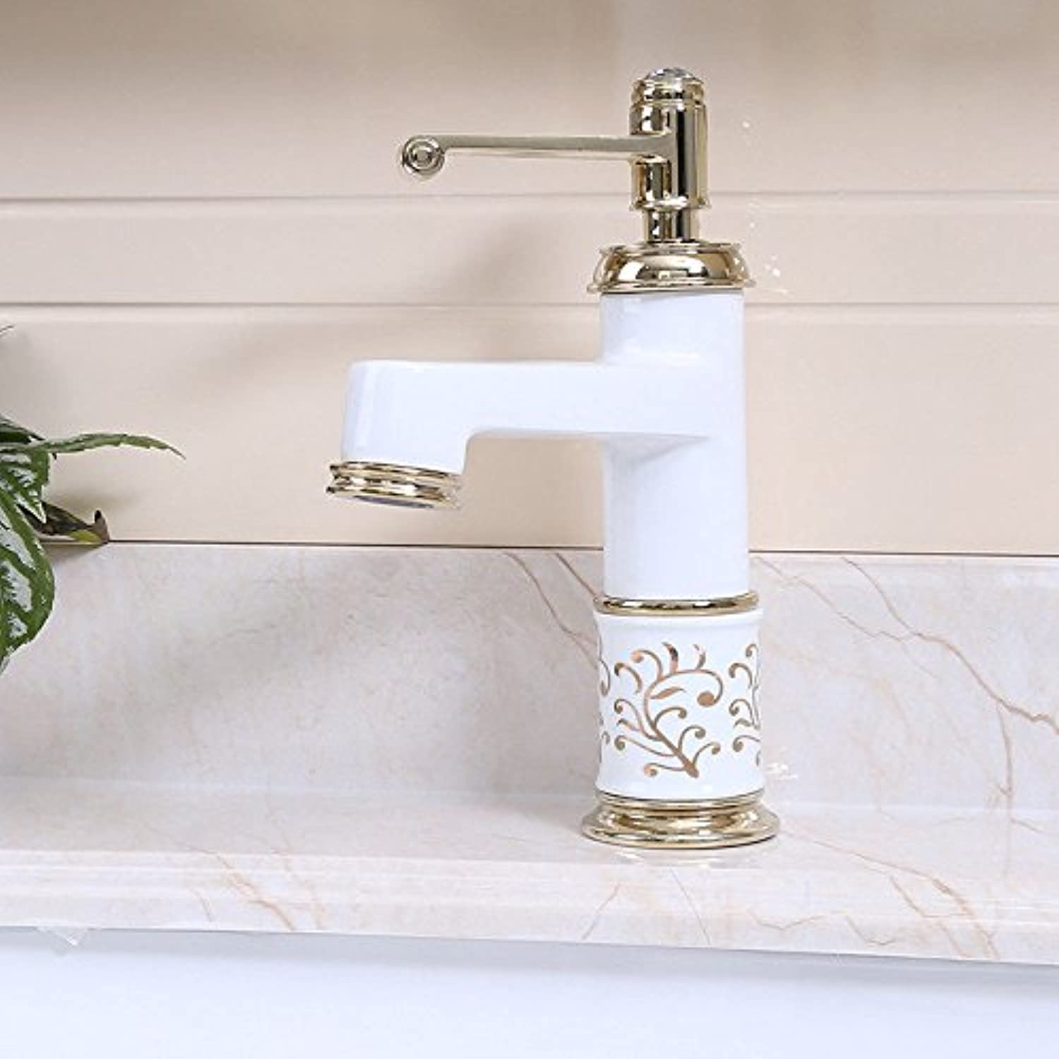 Hlluya Professional Sink Mixer Tap Kitchen Faucet Antique-brass hot and cold basin sink faucet sink mixer, White