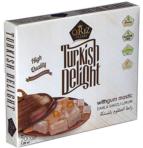 Turkish Delight with Fantastic Gum Mastic (No Nuts) Luxury Lokum Candy Dessert Gourmet Small Box (Approx.18 Pcs) 7 Oz