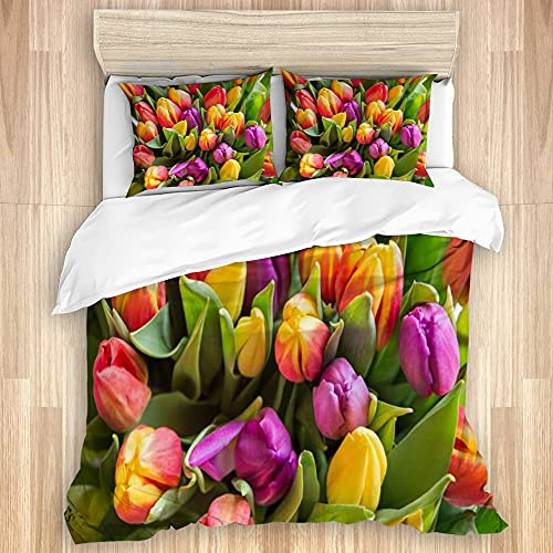 ASNIVI Washed Cotton Duvet Cover Set,Green Beautiful Bouquet Colorful Tulips Spring Flowers 8 March Nature Beauty Bloom Blossom Bunch,3 Pieces Luxury Soft Bedding Set King Size(No Comforter)