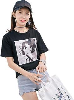 KKRO tシャツ レディース 半袖tシャツ 英字 プリント シンプル ファッション 少女系 トップス 無地 クルーネック 半袖 t シャツ