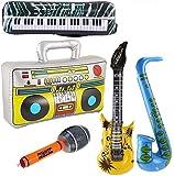 Yojoloin 5 STÜCKE Inflatables Gitarre Saxophon Mikrofon Boom Box Musikinstrumente Zubehör Für Party Supplies Party Favors Ballons Zufällige Farbe (5...