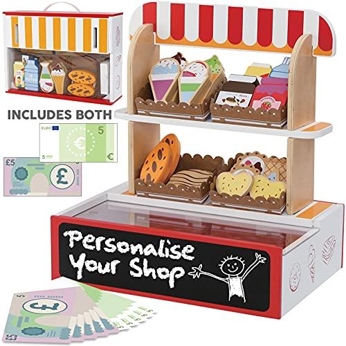 bee SMART – Jouez au supermarché pour Les Enfants - jouez avec des pièces d'Aliments – Le Coffret inclut 26 pièces de Nourriture en Bois – Magasin de Jouets en Bois