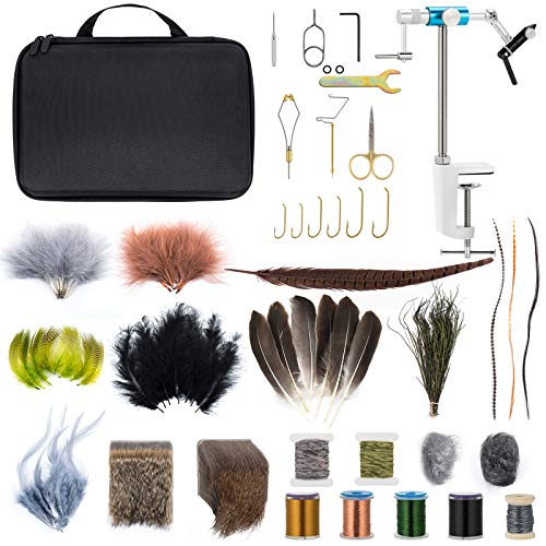 Dr.Fish Fly Tying Kit Fly Tying Material & Tools, Fly Fishing Feather