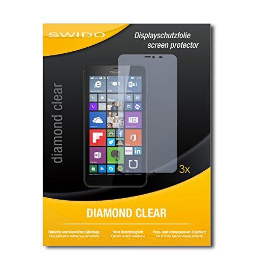 SWIDO 3 x Schutzfolie Microsoft Lumia 640 XL LTE Bildschirmschutz Folie DiamondClear unsichtbar