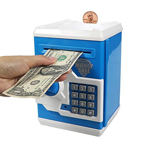 HUSAN 貯金箱 お札 硬貨 ミニATM ダイヤルロック式 (ブルー/ホワイト)