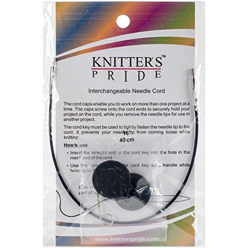 "Knitter's Pride Interchangeable Cords 8"" (16"" w/tips), Black"