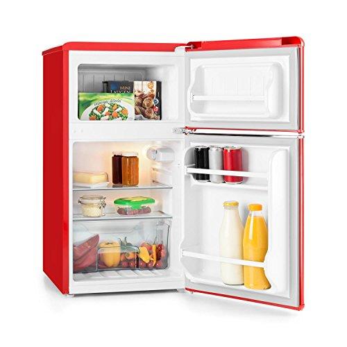 Klarstein Monroe Black • nevera con congelador • retro • refrigerador de 61 l • congelador de 24 l • 2 estantes de vidrio • 2 estantes en las puertas • 5 niveles de enfriamiento • 40 dB • negro