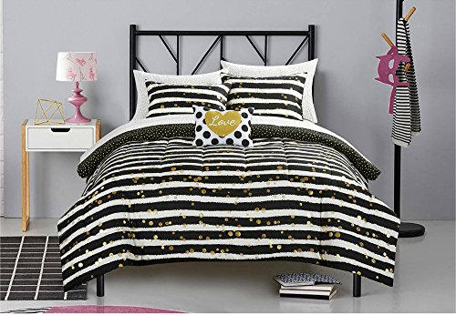 Latitude Gold Glitter Stripe and Polka Dot Kids 6-Piece Bed in a Bag Bedding Set with Decorative Accent Pillow, TWIN XL