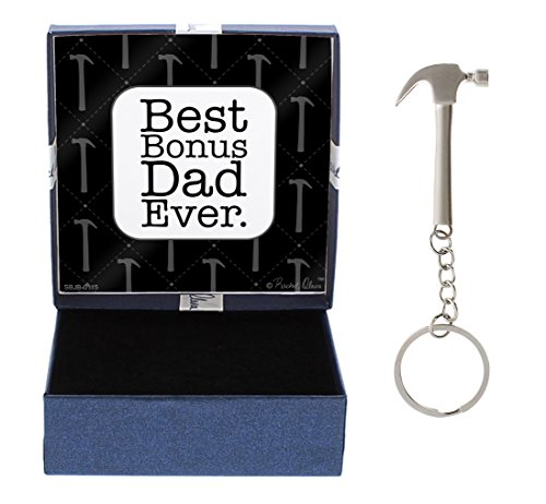 Funny Best Bonus Dad Ever Gift for Stepdad Stepfather Hammer Keychain & Gift Box Bundle