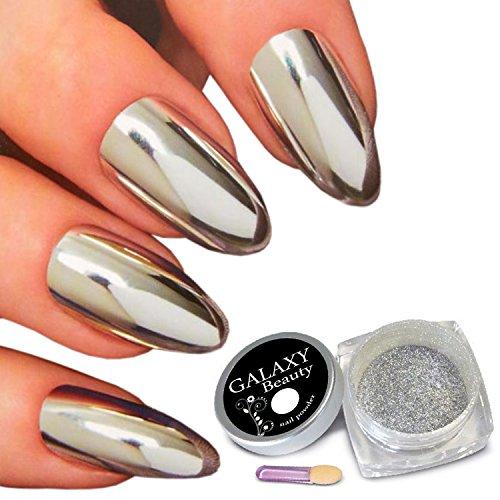 Galaxy Beauty, pigmenti per manicure di colore argento specchiato e cromato, per unghie scintillanti, con pennellino applicatore a spugna e istruzioni (lingua italiana non garantita) inclusi, 1 g