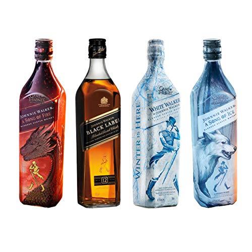 Game of Thrones Fire & Ice Bonuspack mit Johnnie Walker Black Label & White Walker, Whisky, Alkohol, 4 x 700 ml