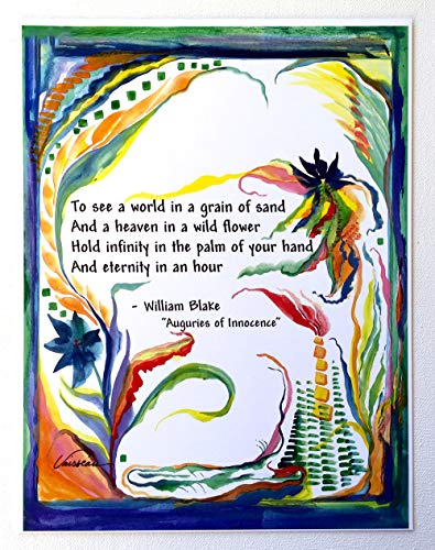 To see a world in a grain of sand 8x11 William Blake Auguries poster - Heartful Art by Raphaella Vaisseau