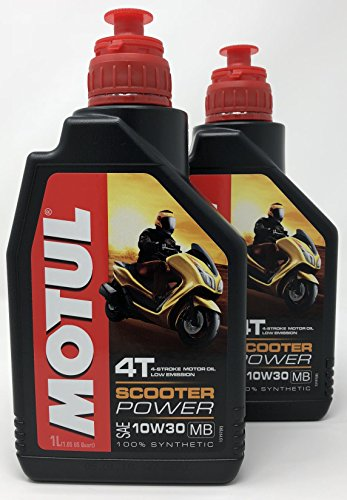 MOTUL Aceite 4 Tiempos Moto Scooter Power 4T 10W-30 MB, 2 Litro (2X 1 lt)