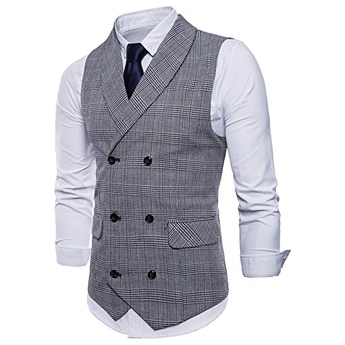 WULFUL Mens Slim Fit Double Breasted Tweed Waistcoat Business Gentleman Vintage Suit Vest Tuxedo