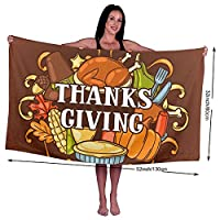 幸せな感謝祭のリストの休日 バスタオル 柔らかい シャワータオル 速乾性 スイミングタオル 極細繊維 ビーチタオル