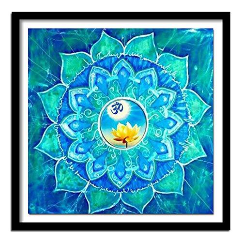 DIY Malen nach Zahlen Mandala Mit Pinsel und Acrylfarbe nach Zahlen für Erwachsene Leinwandbilder für Wohnzimmer Geeignet für Wohnzimmerdekoration für Kinder, Studenten u50x50cm(Kein Rahmen)