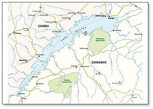Map of African Lake Kariba, Zambia, Zimbabwe ! Fridge Magnet