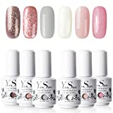 Vernis à Ongles Gel - Y&S UV LED Vernis Gel Semi Permanent Soak Off Manucure Nail Art Cadeau Kit, 6 Couleurs X 8ml, Lot Rêve Rose