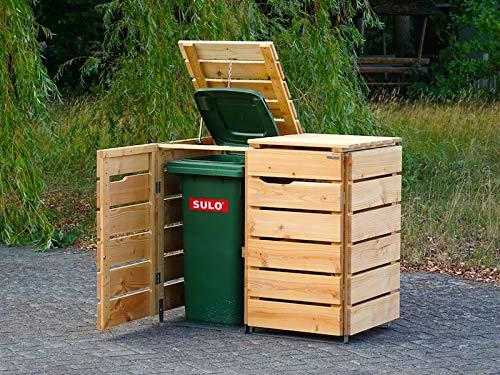 2er Mülltonnenbox / Mülltonnenverkleidung 240 L Holz, Transparent Geölt Weiß