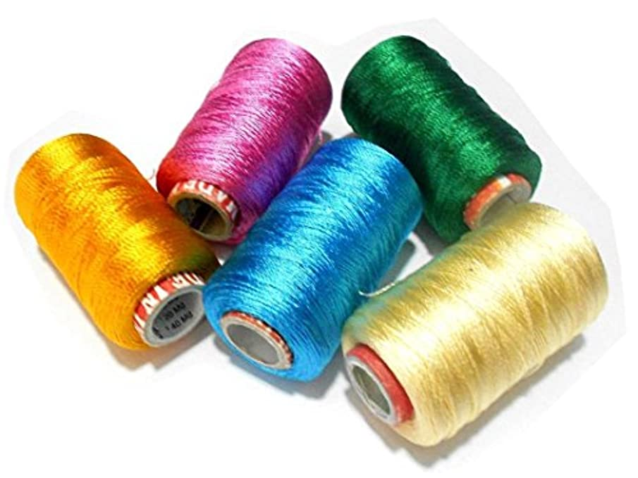 GOELX Silk Thread Spools For Wrapping Shiny Bright 5 Colours - Yellow,Pink,Deep Green,Turquoise Blue and Cream